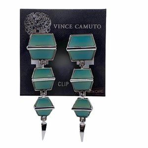 Vince Camuto Jade Green Drop Clip On Earrings